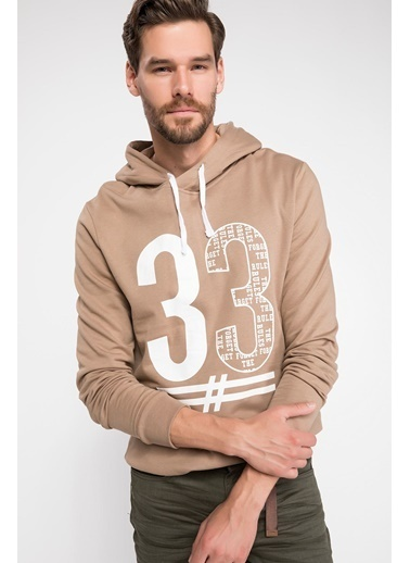 DeFacto Slim Fit Sweatshirt Bej